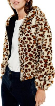 Topshop Faux Fur Zip Hooded Jacket