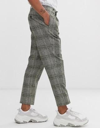 Asos Design DESIGN skinny smart pants in green neppy wool check