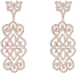 Latelita Regal Rose Statement Drop Earrings White Rosegold