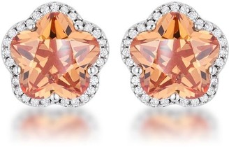 Overstock Floral Cut Champagne CZ Stud Earrings