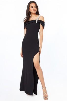 Goddiva Diamante Belt Trim One Shoulder Maxi Dress - Black