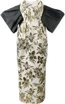 Christian Pellizzari floral print strapless gown