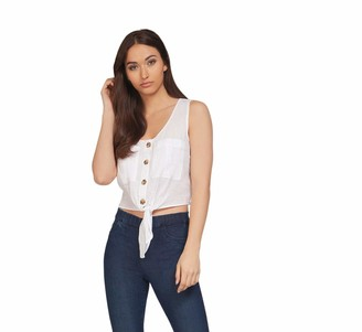 Dex Women's Sleeveless Button Down Blouse with Front Tie and Pockets