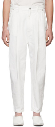 Hed Mayner White Pleated Jeans