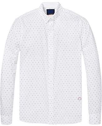 Scotch & Soda Men's AMS Slim Fit Simple Lightweight Printed Casual Shirt