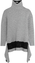 Balenciaga Asymmetric Metallic Knitted Turtleneck Sweater - Silver