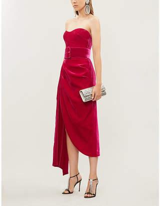 Rasario Off-the-shoulder sleeveless velvet midi dress