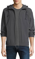 Andrew Marc Rogers Crinkle-Shell Hooded Jacket, Gray Pattern