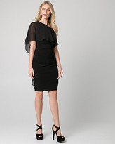 Le Château Embellished Chiffon One Shoulder Cape Dress