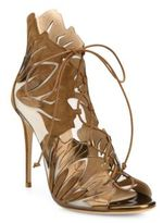 Casadei Laser-Cut Metallic Leather & Suede Lace-Up Sandals