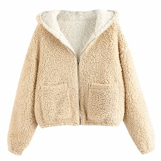 CHMORA Women's Sweatshirt Both Sides wear Solid Color Warm Plush Short Jacket