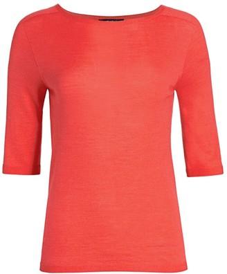 St. John Wool & Silk Elbow-Sleeve T-Shirt