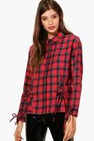 boohoo Holly Check Cold Shoulder Lace Up Shirt