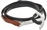 Miansai Modern Silver Anchor on Two-Tone Leather Bracelet Bracelet