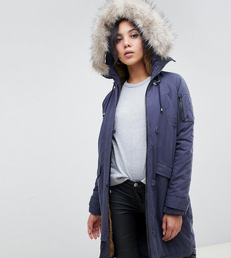 Asos Tall DESIGN Tall luxe parka with faux fur trim-Navy