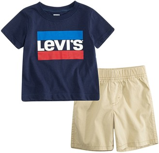 Levi's Levis Baby Boy Logo Tee & Pull-On Shorts 2-Piece Set