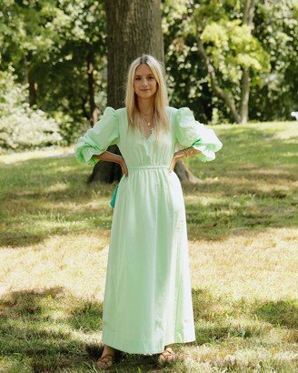 The Drop Women's Spearmint Green Loose Fit V-Neck Balloon Sleeve Maxi Dress by @thefashionguitar XXS