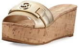 MICHAEL Michael Kors Warren Platform Cork Wedge Slide Sandal, Beige