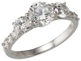 Silver Plated Fancy Cut Cubic Zirconia Engagement Ring - Size 6