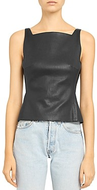Theory Leather Square Neck Top