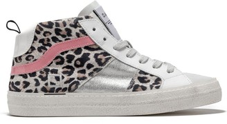 D.A.T.E D A T E High Top Sneakers Hawk Satin Leopard White Pink - 37