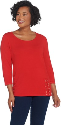 Joan Rivers Classics Collection Joan Rivers Scoop Neck Sweater with Lace Up Detail