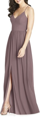 Dessy Collection Spaghetti Strap Chiffon A-Line Gown