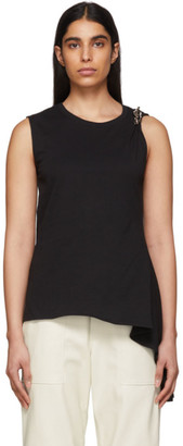 Alyx Black Smocked Brooch Tank Top