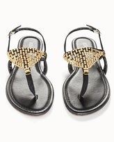 Soma Intimates Gold Mesh Flat Black Sandals