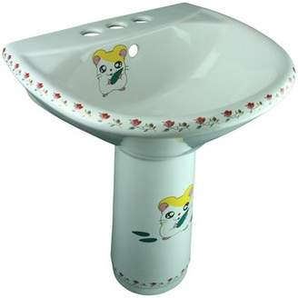 The Renovators Supply Inc. Chippy Mouse Vitreous China U-Shaped Pedestal Bathroom Sink with Overflow The Renovators Supply Inc.