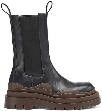 Bottega Veneta Round Toe Flat Boots in Black & Brown | FWRD