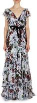 Erdem Perry Floral-Print Flutter-Sleeve Gown