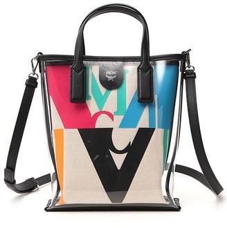 MCM Logo Glitch Hologram Shopper Bag