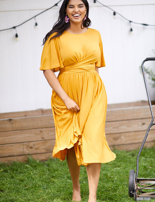 ELOQUII Wrap Dress with Pleated Skirt