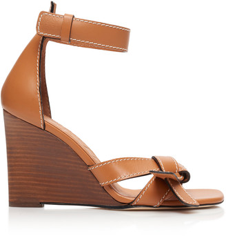 Loewe Gate Leather Wedge Sandals