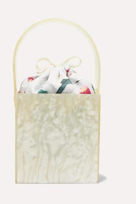 Montunas Stelis Marbled Acrylic And Silk-satin Tote - White