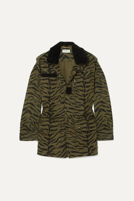 Saint Laurent Shearling-trimmed Zebra-print Cotton-blend Twill Jacket - Army green