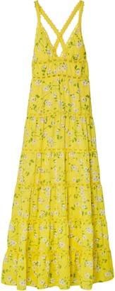 Alice + Olivia Karolina Crochet-trimmed Floral-print Chiffon Maxi Dress