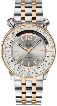 Gevril Men's Wallabout Silver Dial Two Tone Watch, 44mm