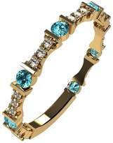 Nana Silver Stackable Ring Round Cut Yellow Gold Plated - Size 6 - Simulated Aquamarine - March Birthstone