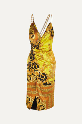 Versace Ruched Embellished Printed Silk-satin Midi Dress - Yellow