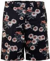 Topman Black Floral Print Wide Fit Smart Shorts