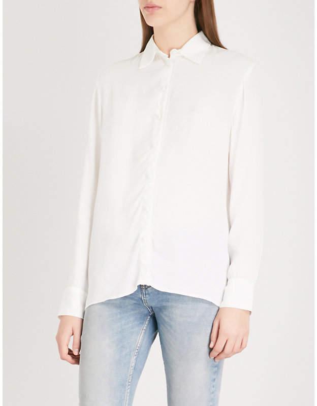 Maje Cosmos fringed-trim crepe shirt