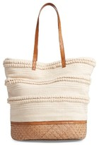 Sole Society Woven Bottom Tote - Beige