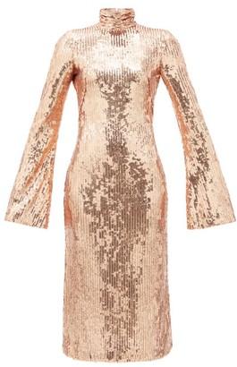 Galvan Orb Open-back Sequinned Midi Dress - Gold