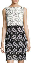 Ellen Tracy Floral-Embroidered Belted Sheath Dress, Black/White