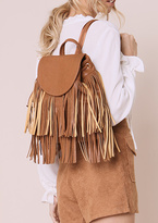 Missy Empire Cissi Tan Leather Tassel Backpack