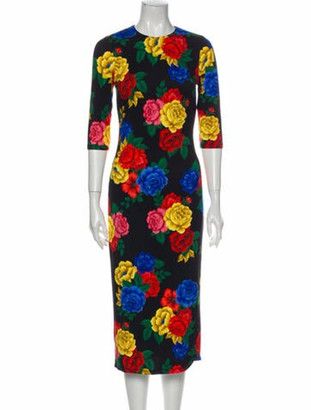 Alice + Olivia Floral Print Midi Length Dress Black