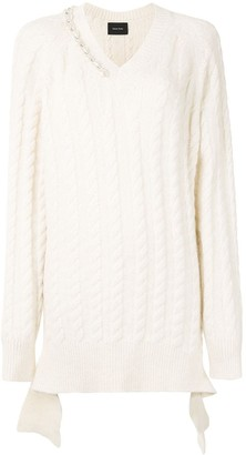 Simone Rocha Embellished Cable Knit Jumper