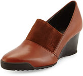 Sesto Meucci Daelyn Leather/Suede Wedge Pump, Cognac